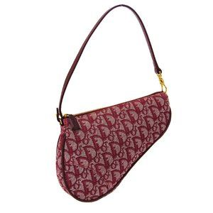Christian Dior Trotter Saddle Hand Bag Red Canvas